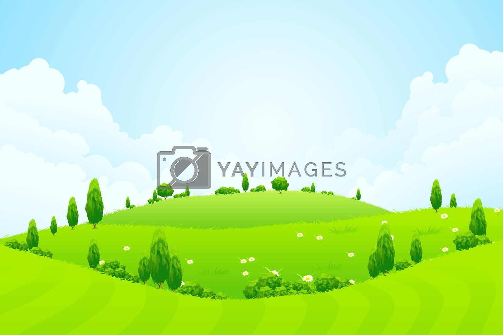Green Background with Grass Trees Flowers and Hills  by WaD