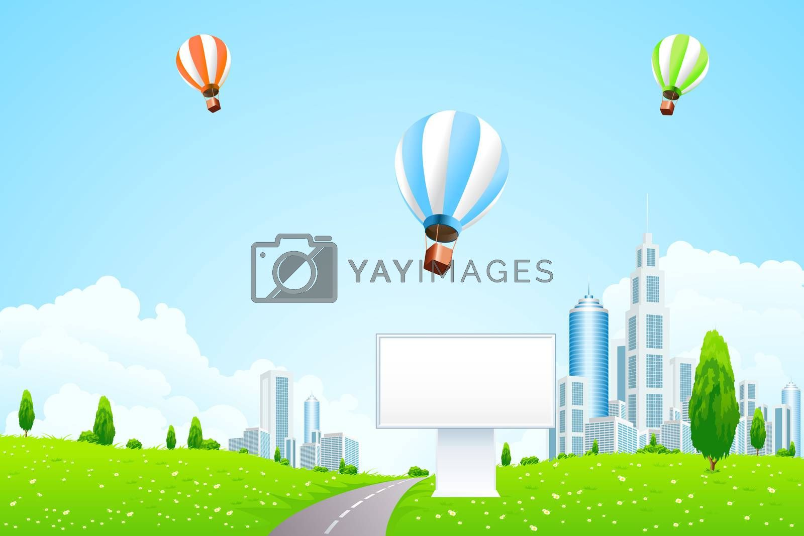 Green City Landscape with Hot Air Balloons by WaD