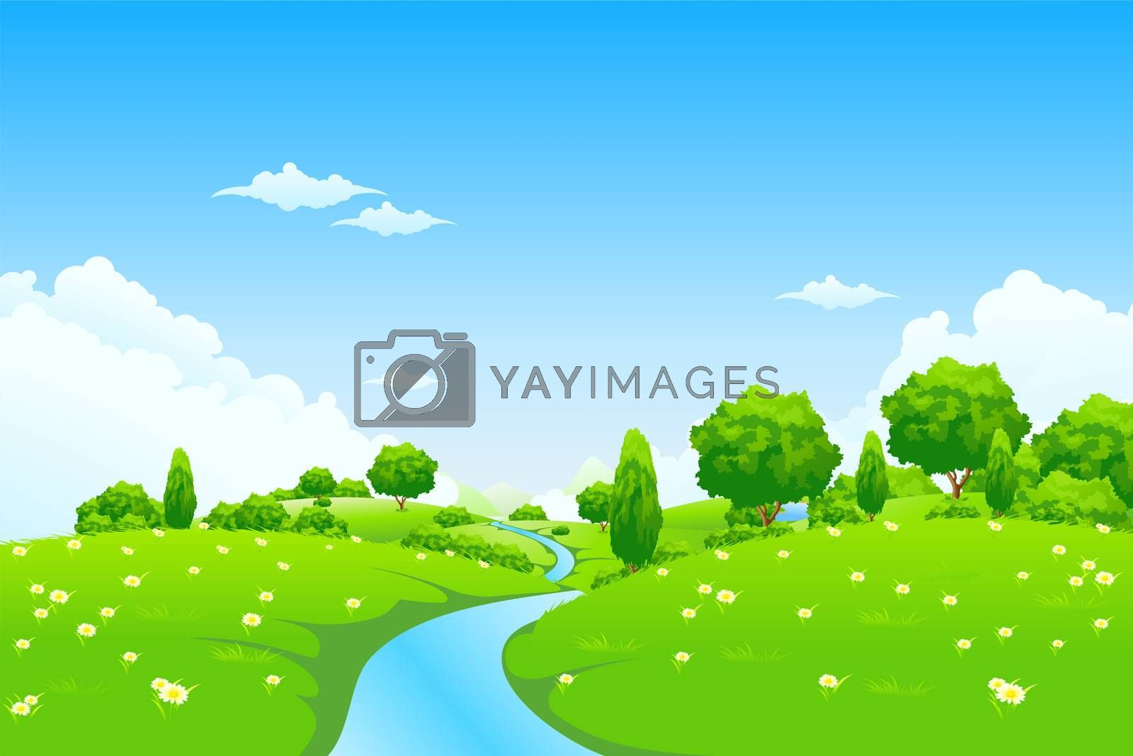 Green Landscape with river trees and flowers by WaD