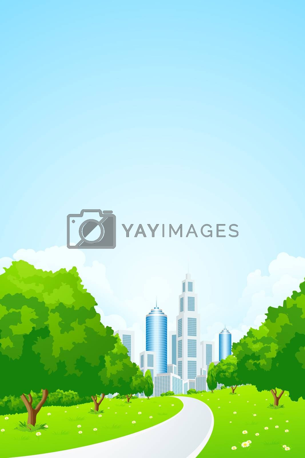 City Landscape with Green Trees by WaD
