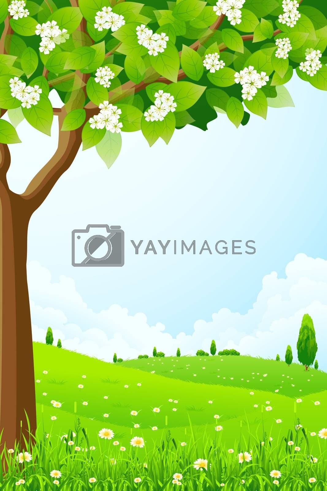 Green Landscape with  Tree by WaD