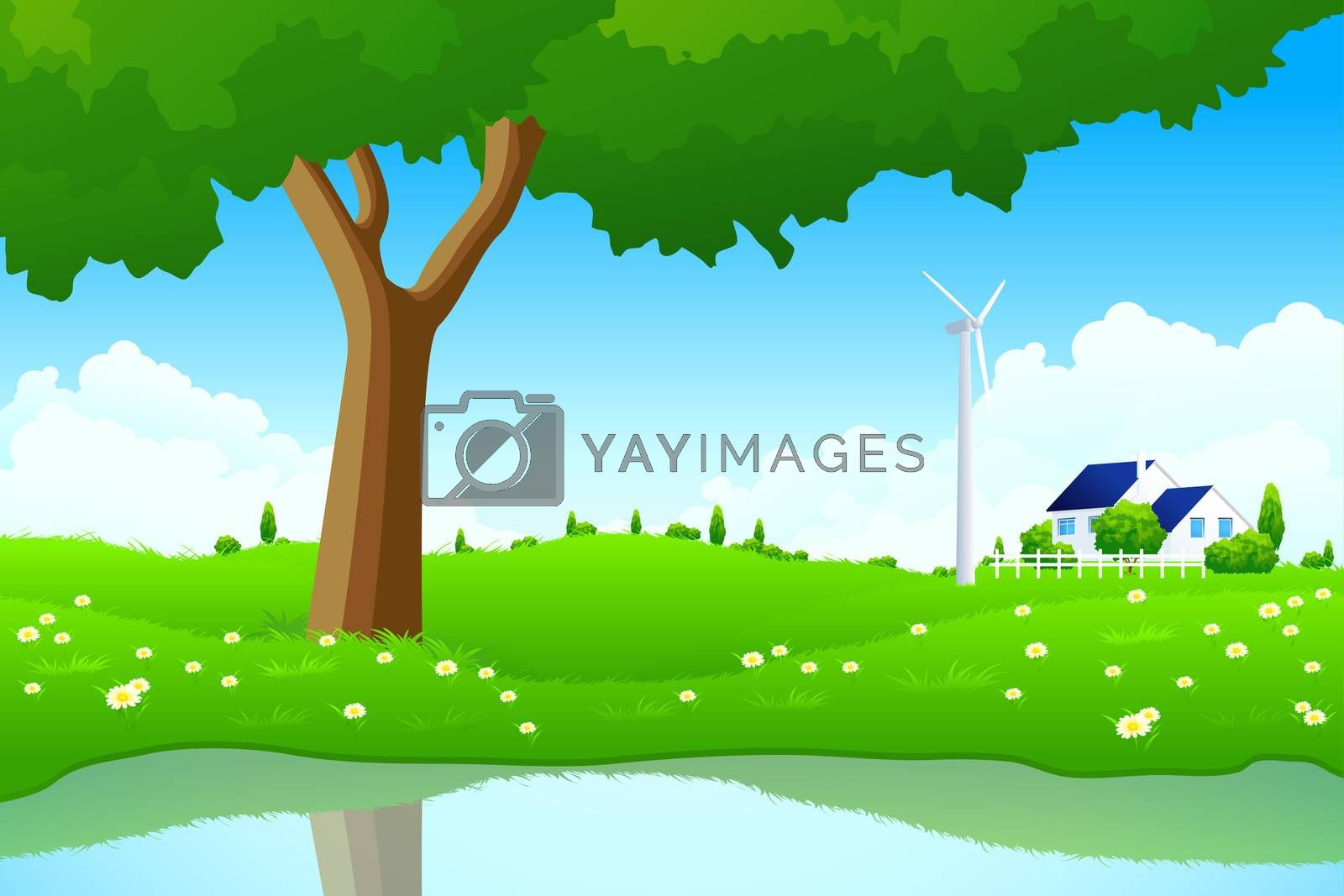Green Landscape with Tree Wind Power Station and House by WaD