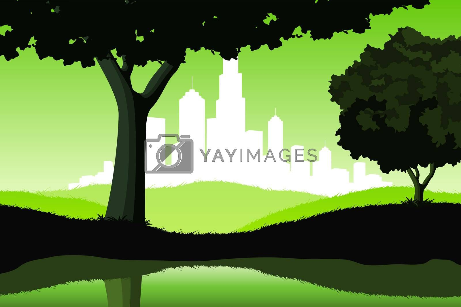 Night Landscape with trees and city silhouette by WaD