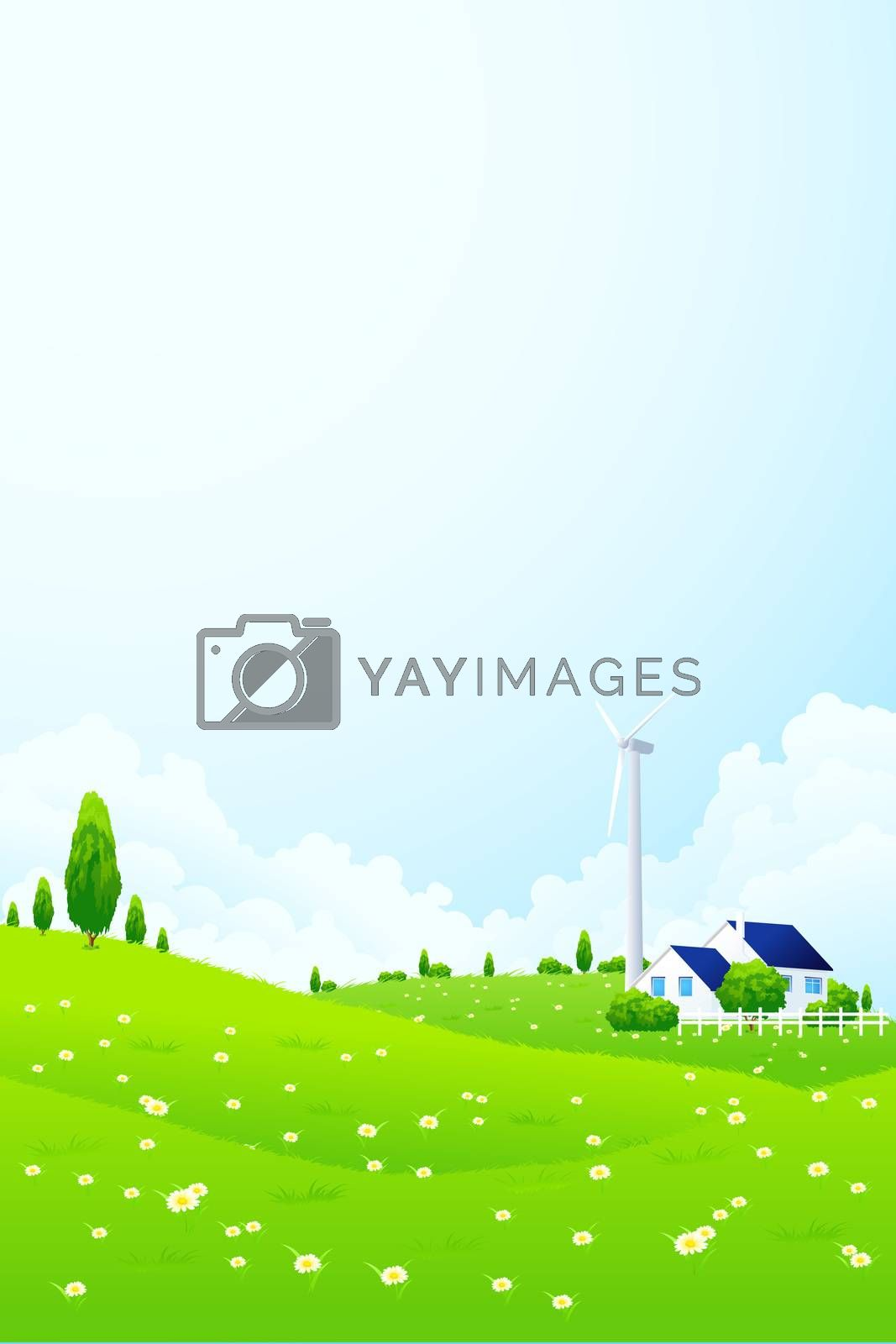 Landscape with House and Wind Power Station by WaD