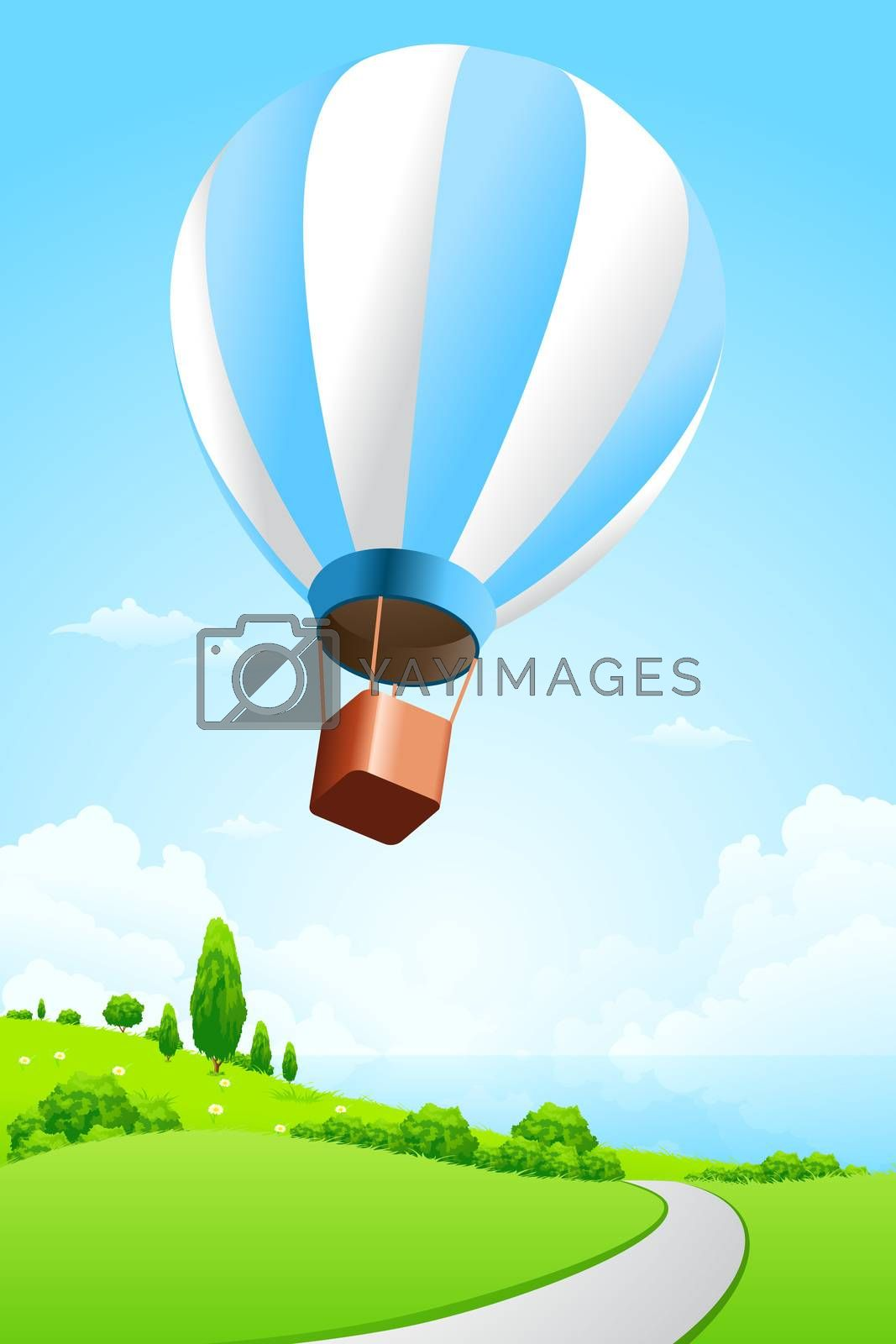 Green Landscape with Hot Air Balloon by WaD