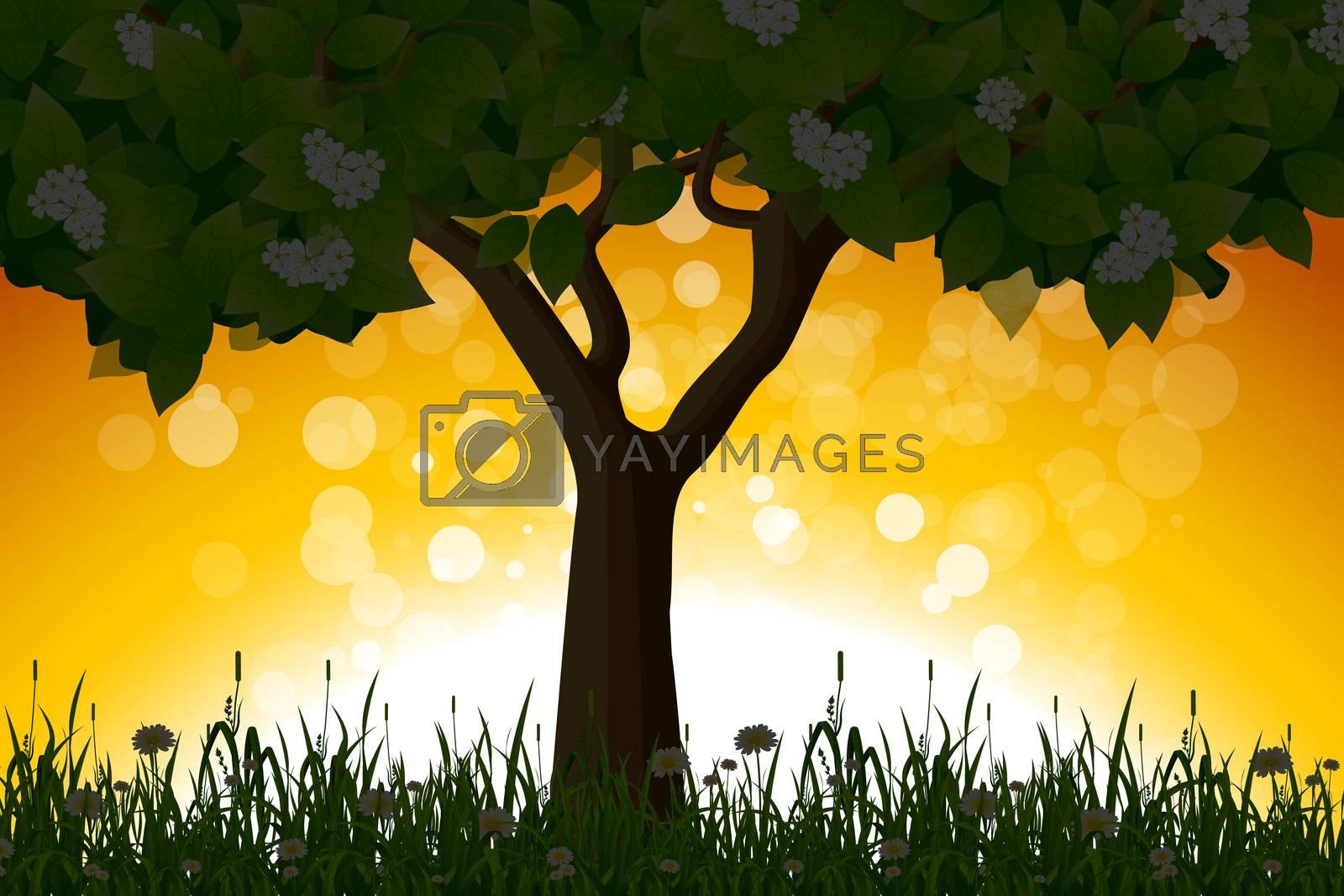 Amazing Sunrise Landscape with Tree by WaD