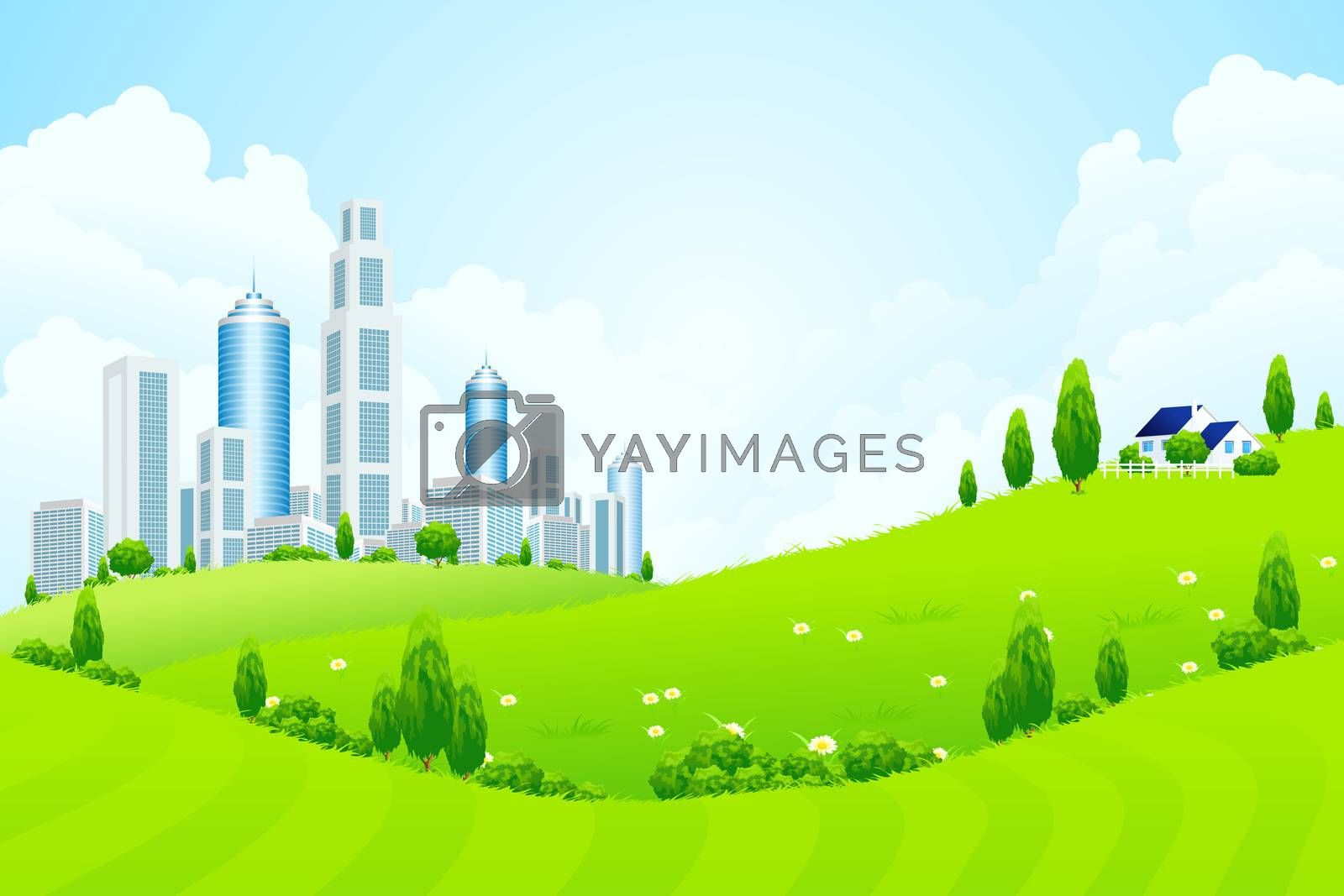 Green Landscape with City and Clouds by WaD