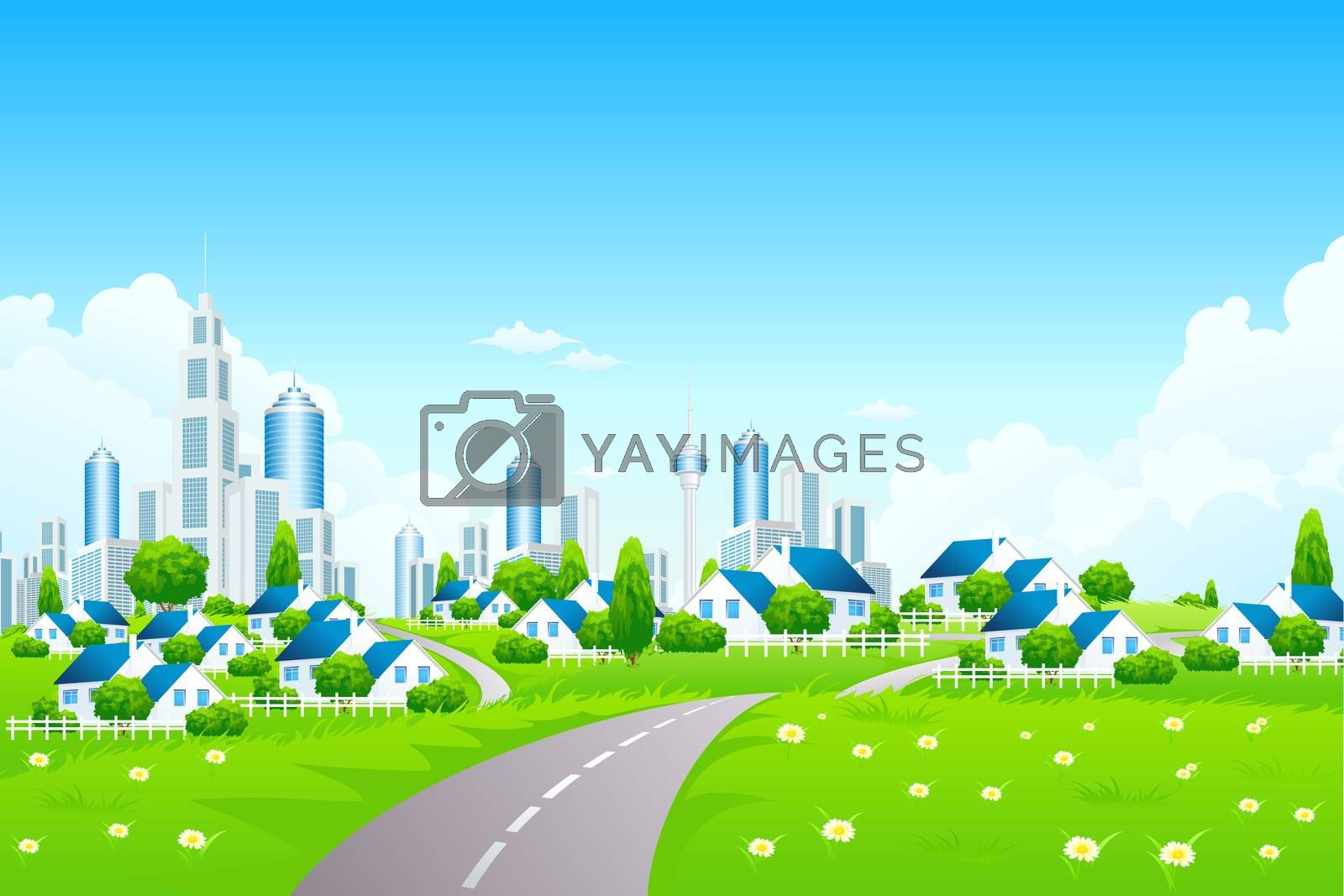 Green Landscape with City and Small Village by WaD
