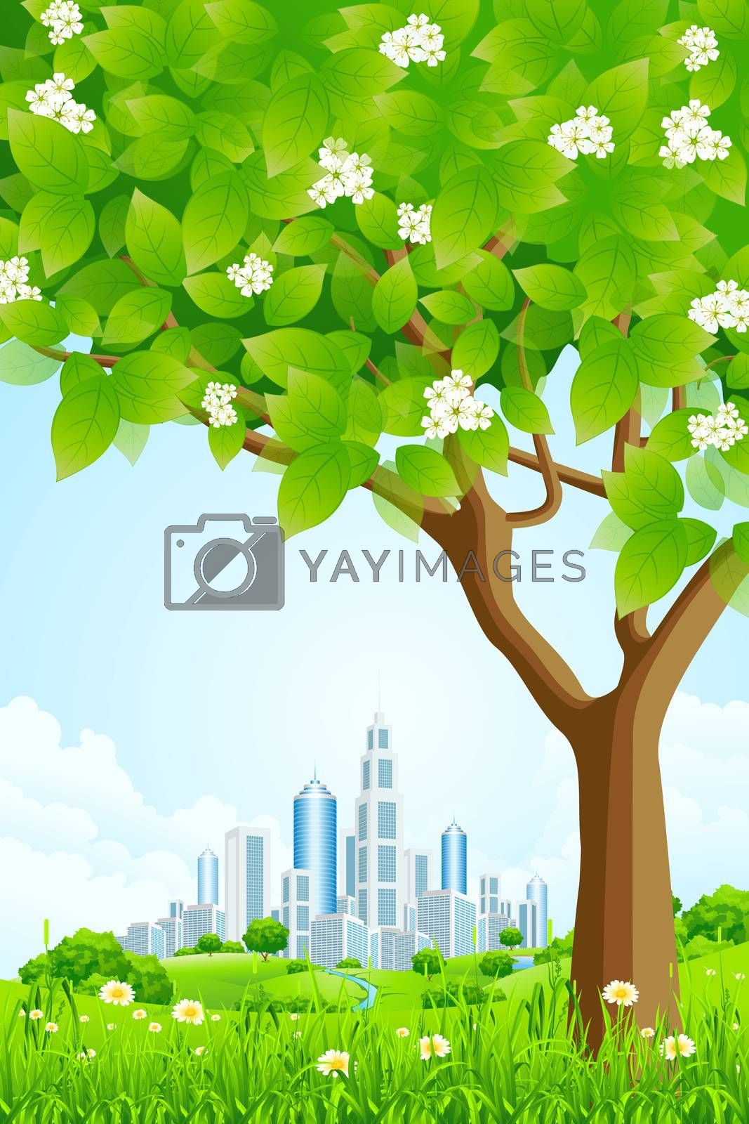 Green Background with Tree and Modern City by WaD