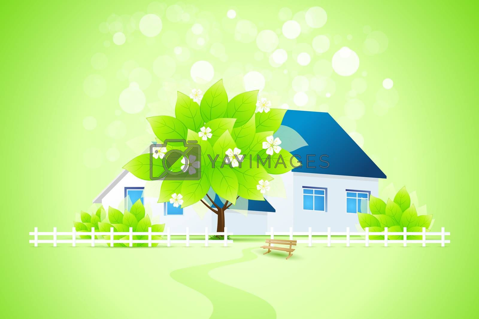 Green Home with Tree by WaD