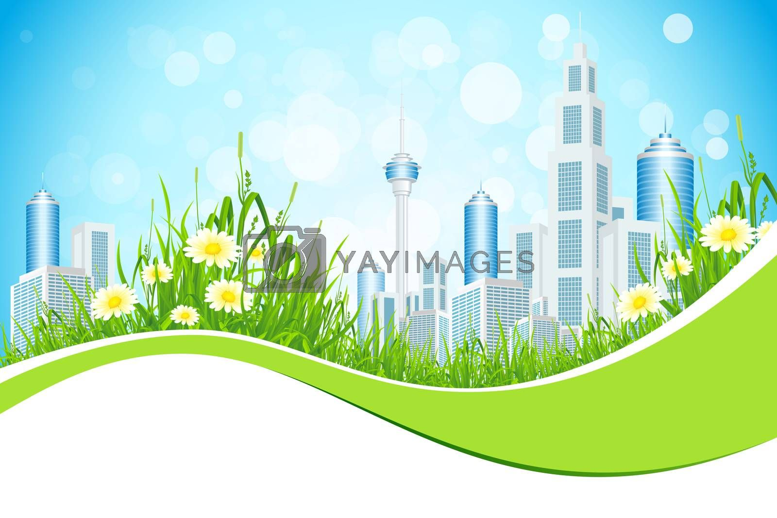 Abstract Background with City Line Flowers and Grass by WaD