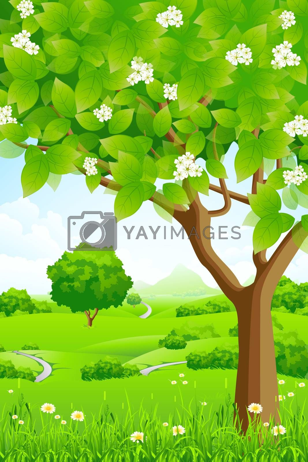 Green Background with Trees and Mountains by WaD