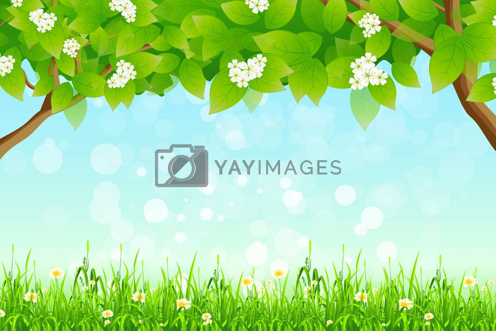 Green Background with Branches of Trees and Grass by WaD