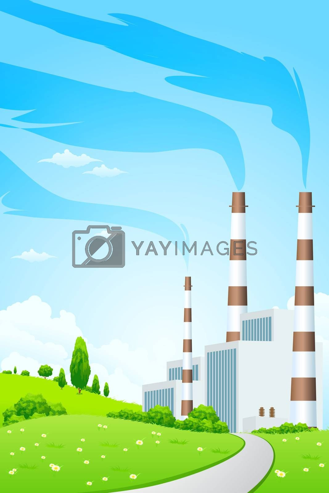 Green Landscape with Power Plant by WaD