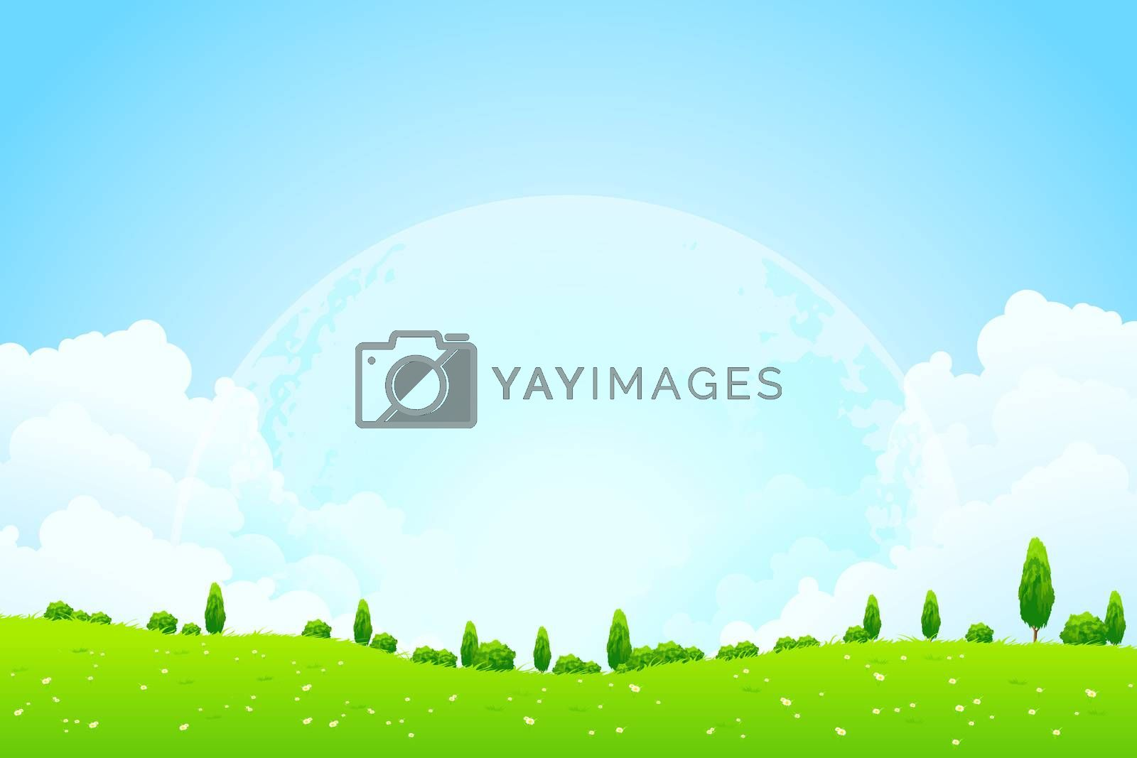Green Background with Moon in the Sky by WaD
