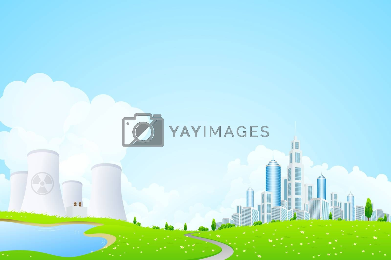 Green Landscape with City Lake and Nuclear Power Plant by WaD