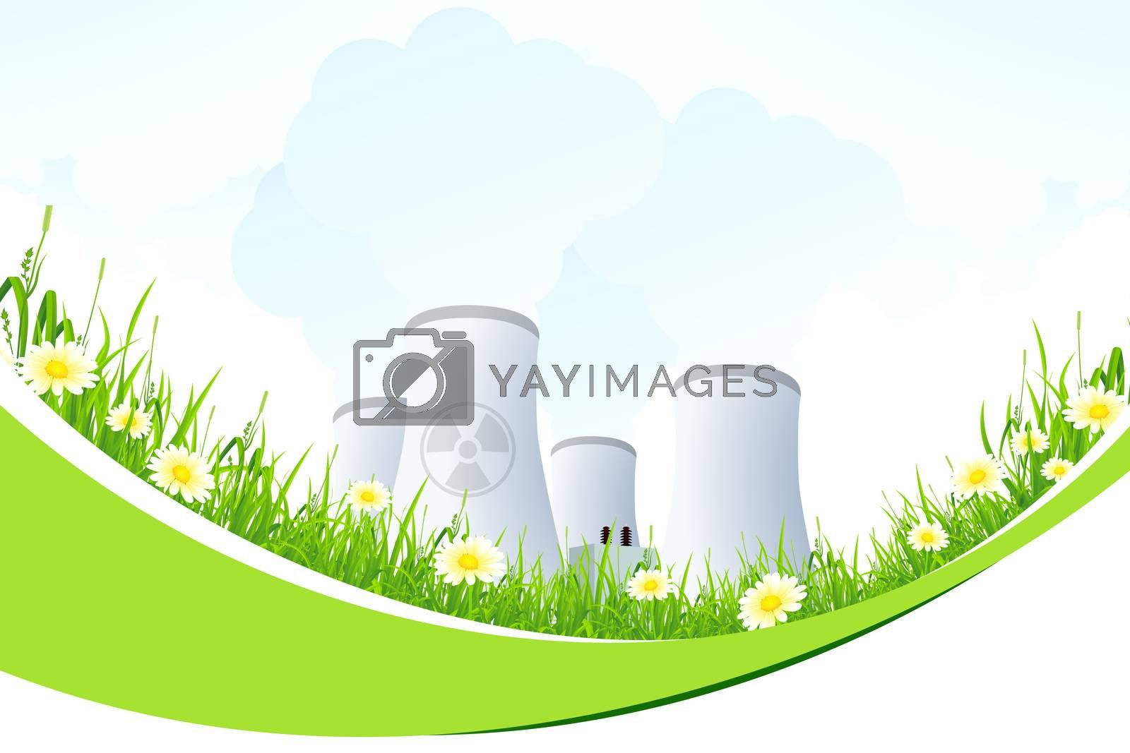 Abstract Background with Nuclear Power Plant and Grass by WaD
