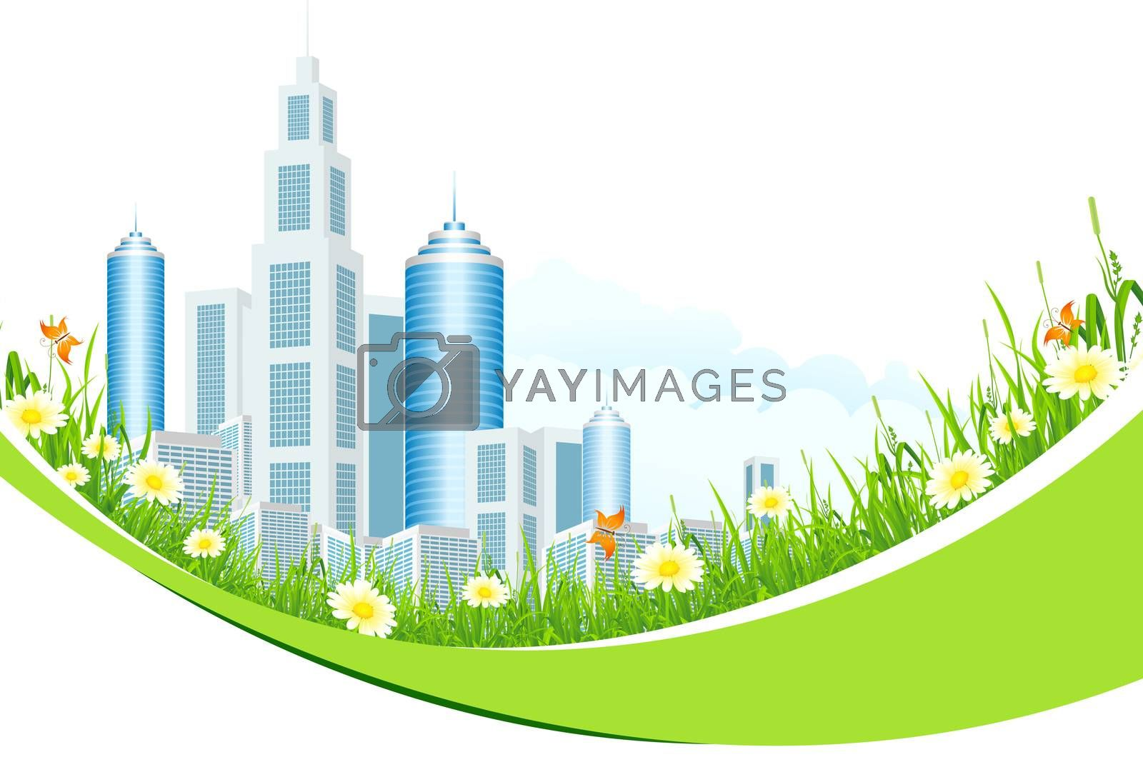 Abstract Background with City Line and Flowers by WaD