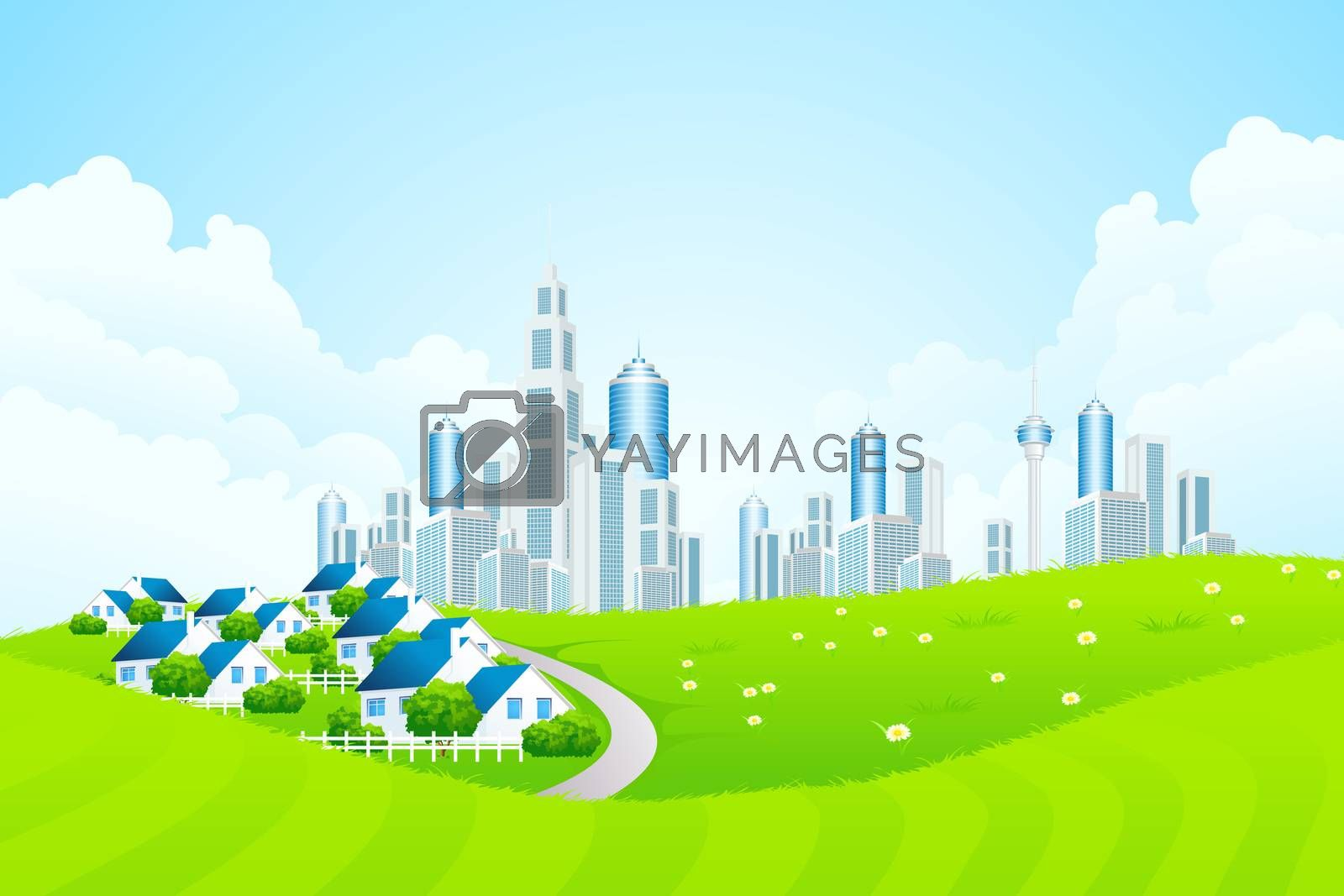 Green Landscape with City line and Cottage Village by WaD