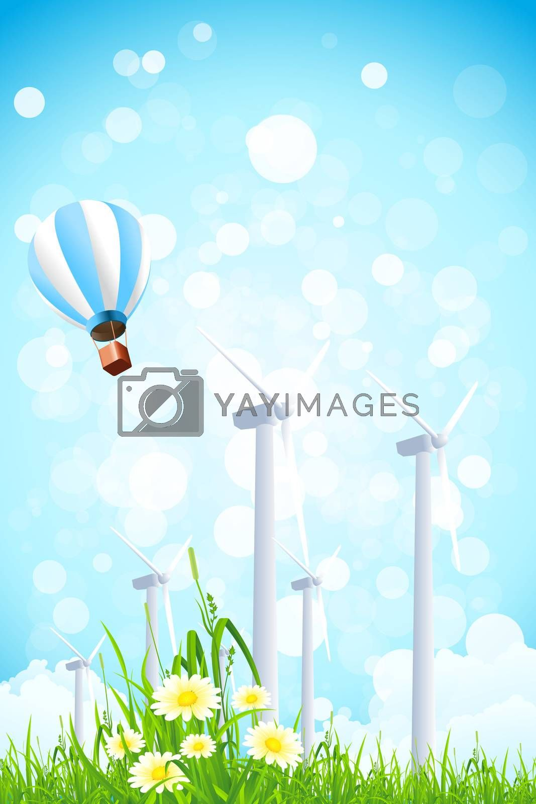 Abstract Background with Wind Power Plant and Hot Air Balloon by WaD