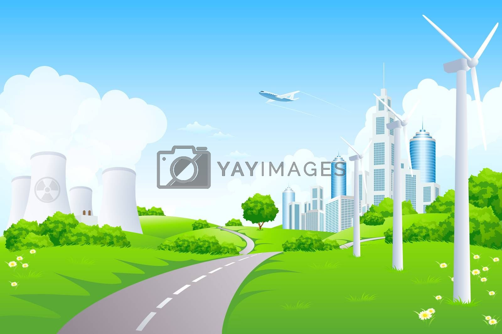 Green Landscape with City Windmills and Nuclear Power Plant by WaD