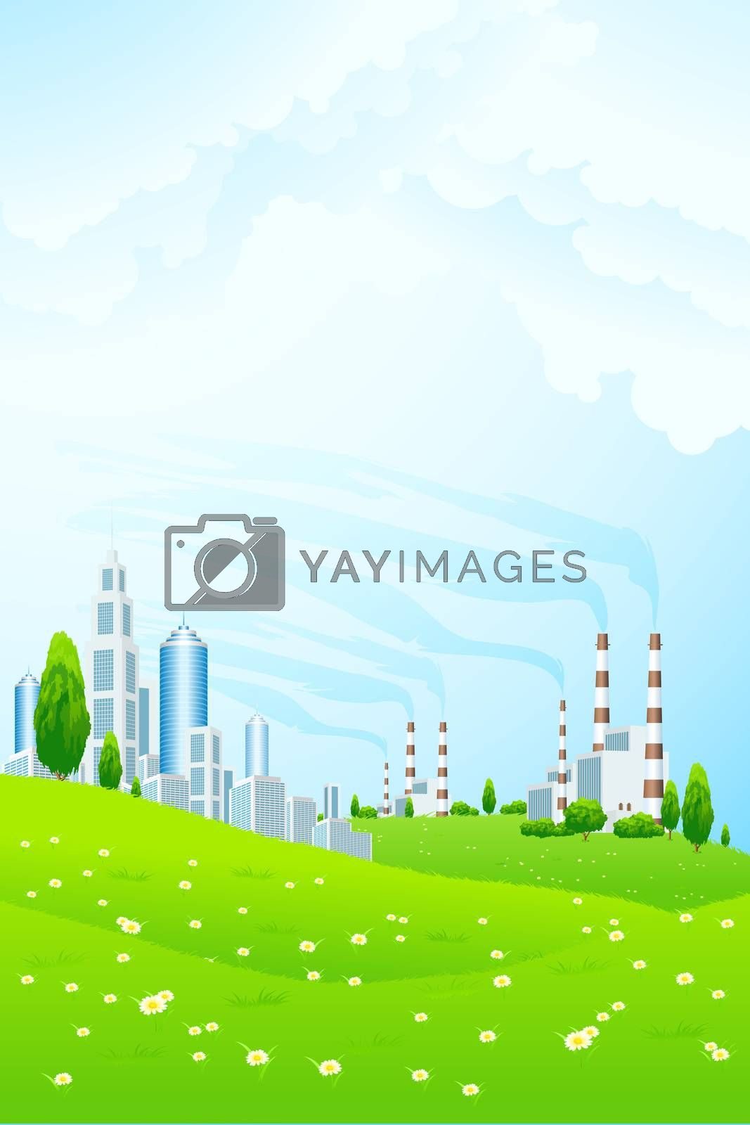 Green Landscape with City and Power Plant by WaD