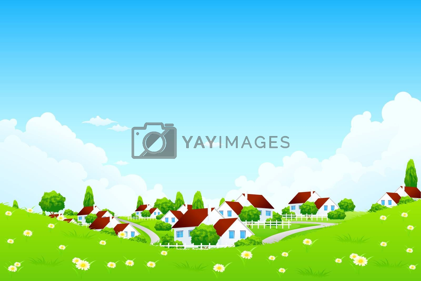 Green Landscape with Village by WaD