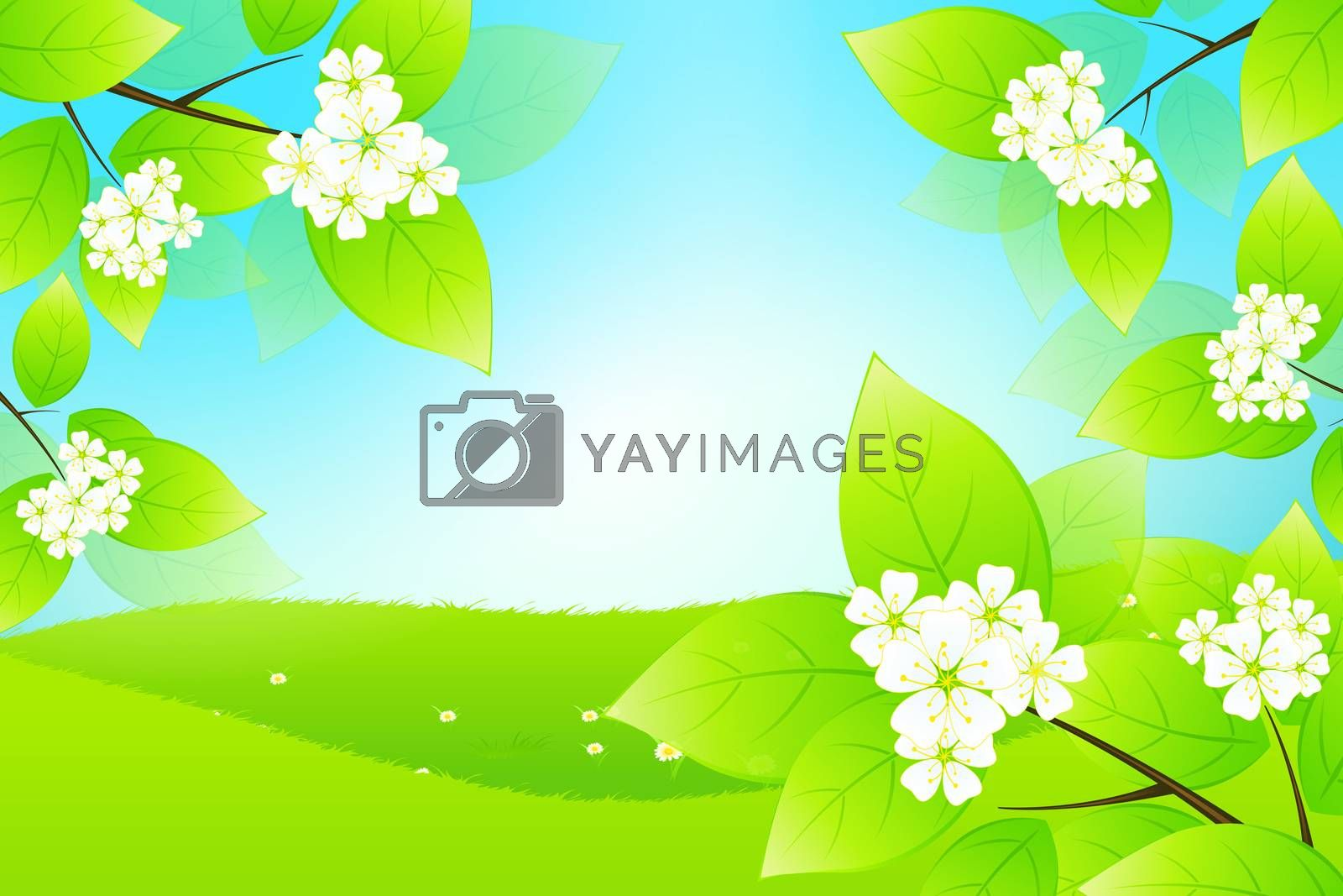 Green Landscape with Tree Branch by WaD
