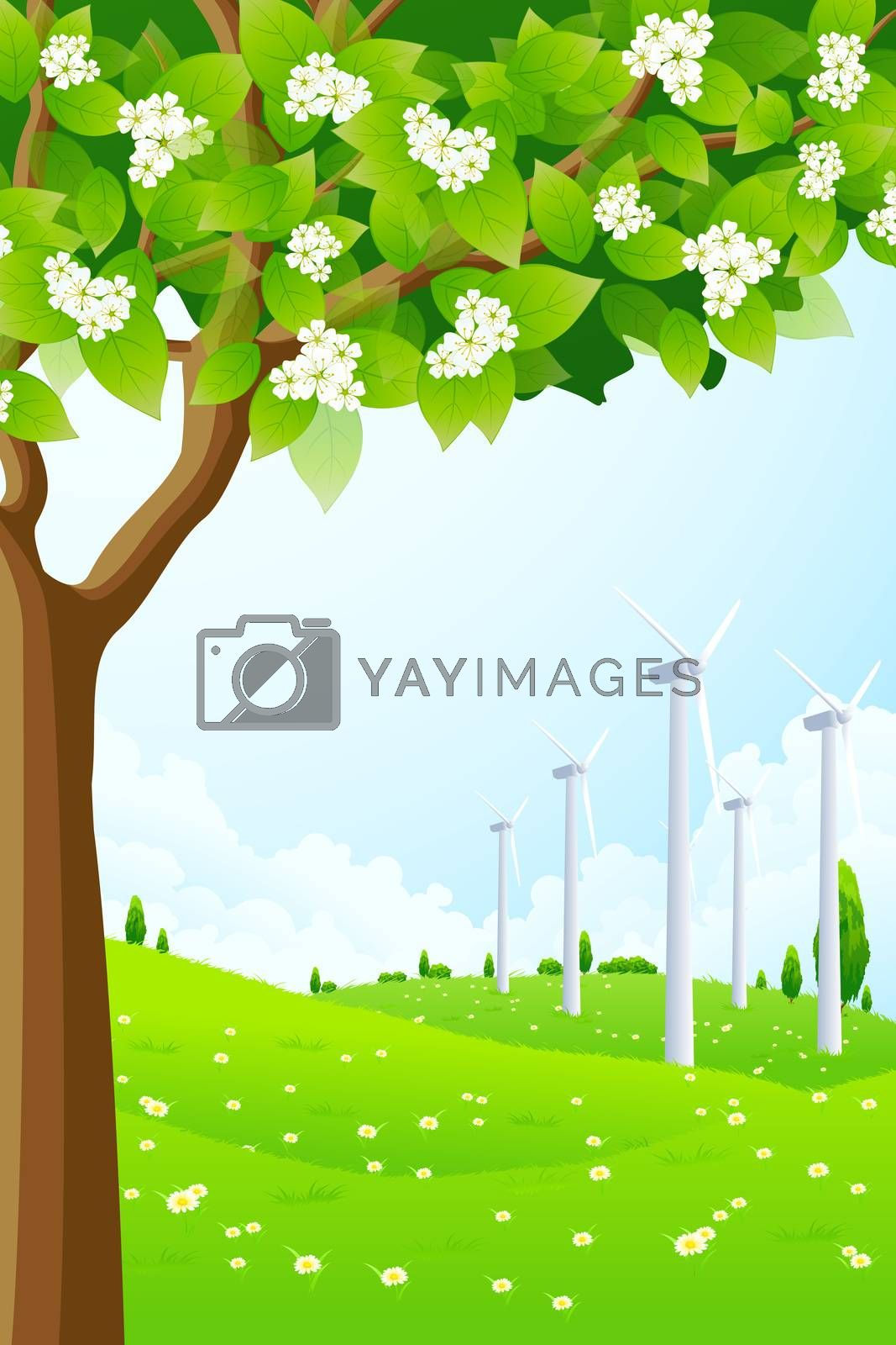 Green Landscape with Wind Power Plant by WaD