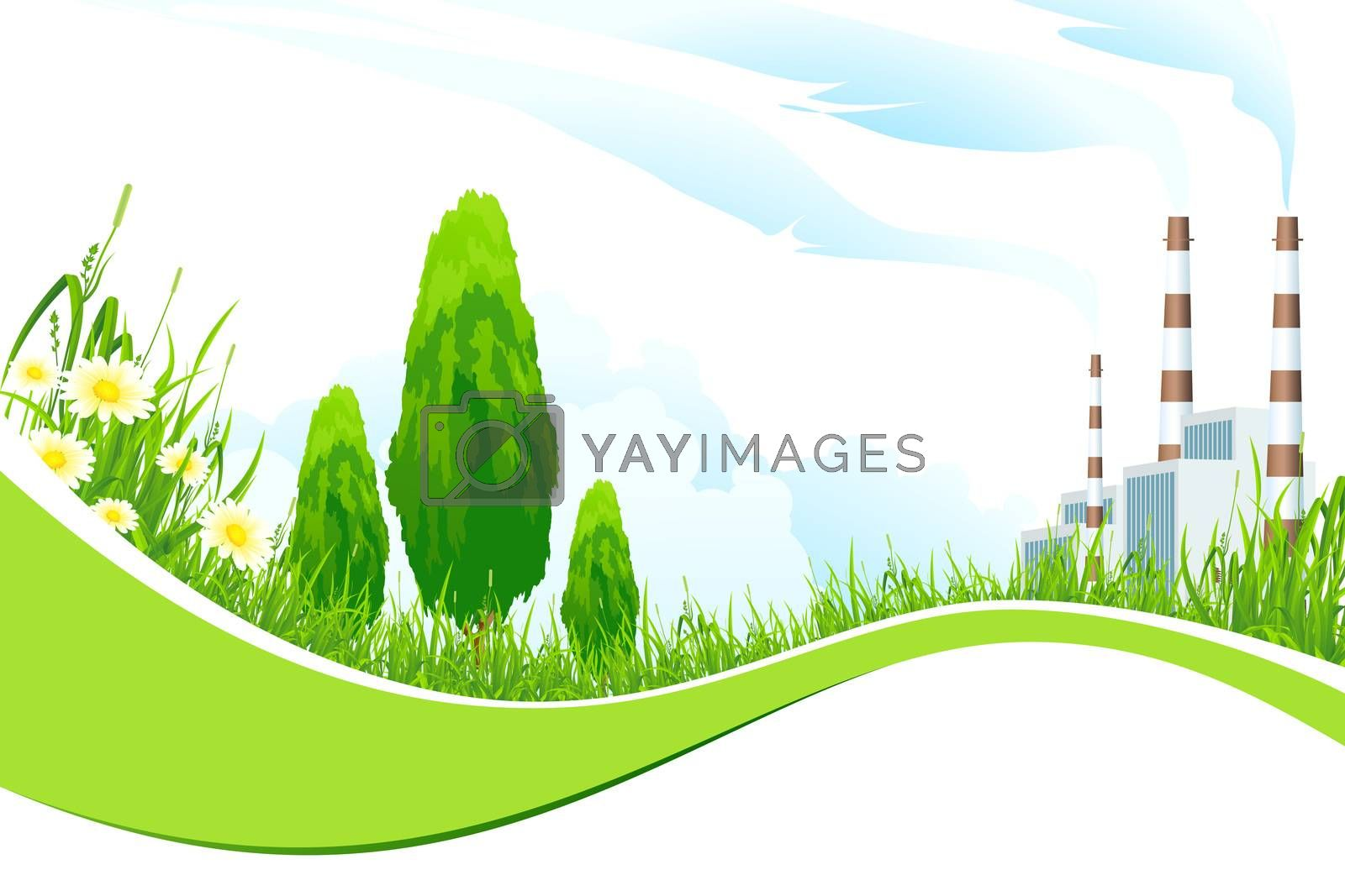 Abstract Background with Power Plant and Trees by WaD