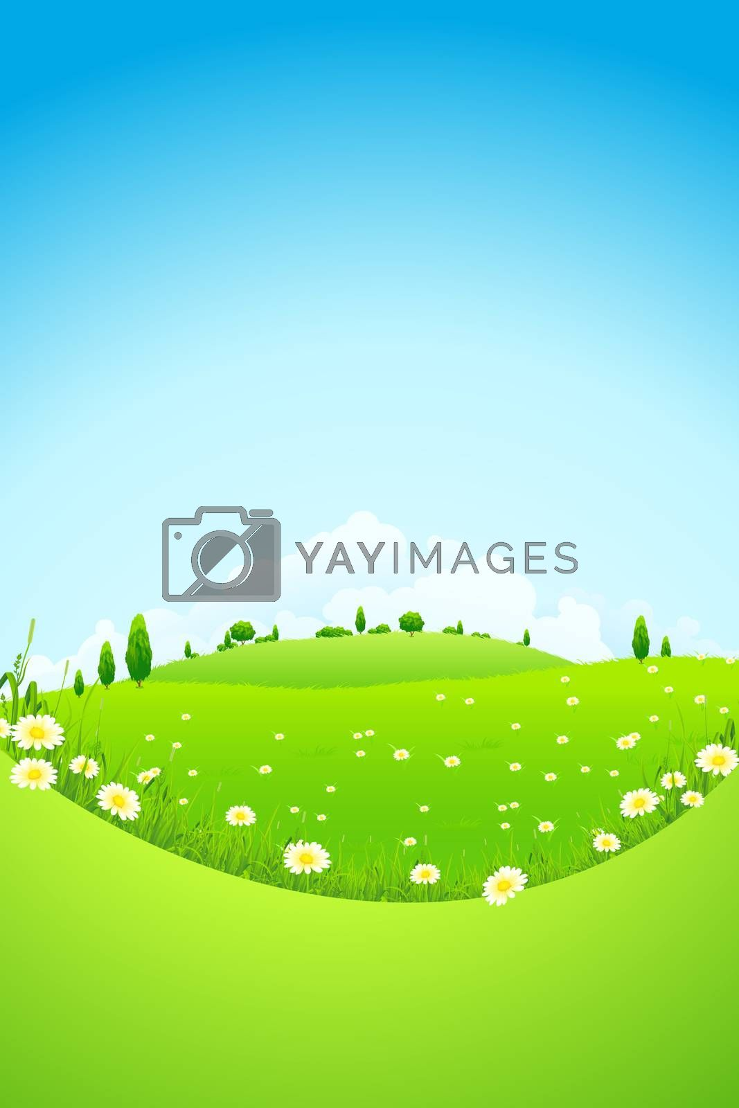 Landscape with Green Trees and Fields by WaD