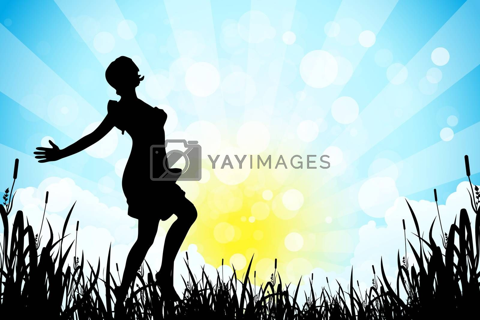 Nature Background with Girl Silhouette by WaD