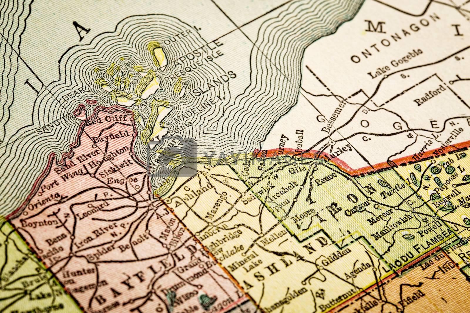 Apostle Islands on vintage map by PixelsAway