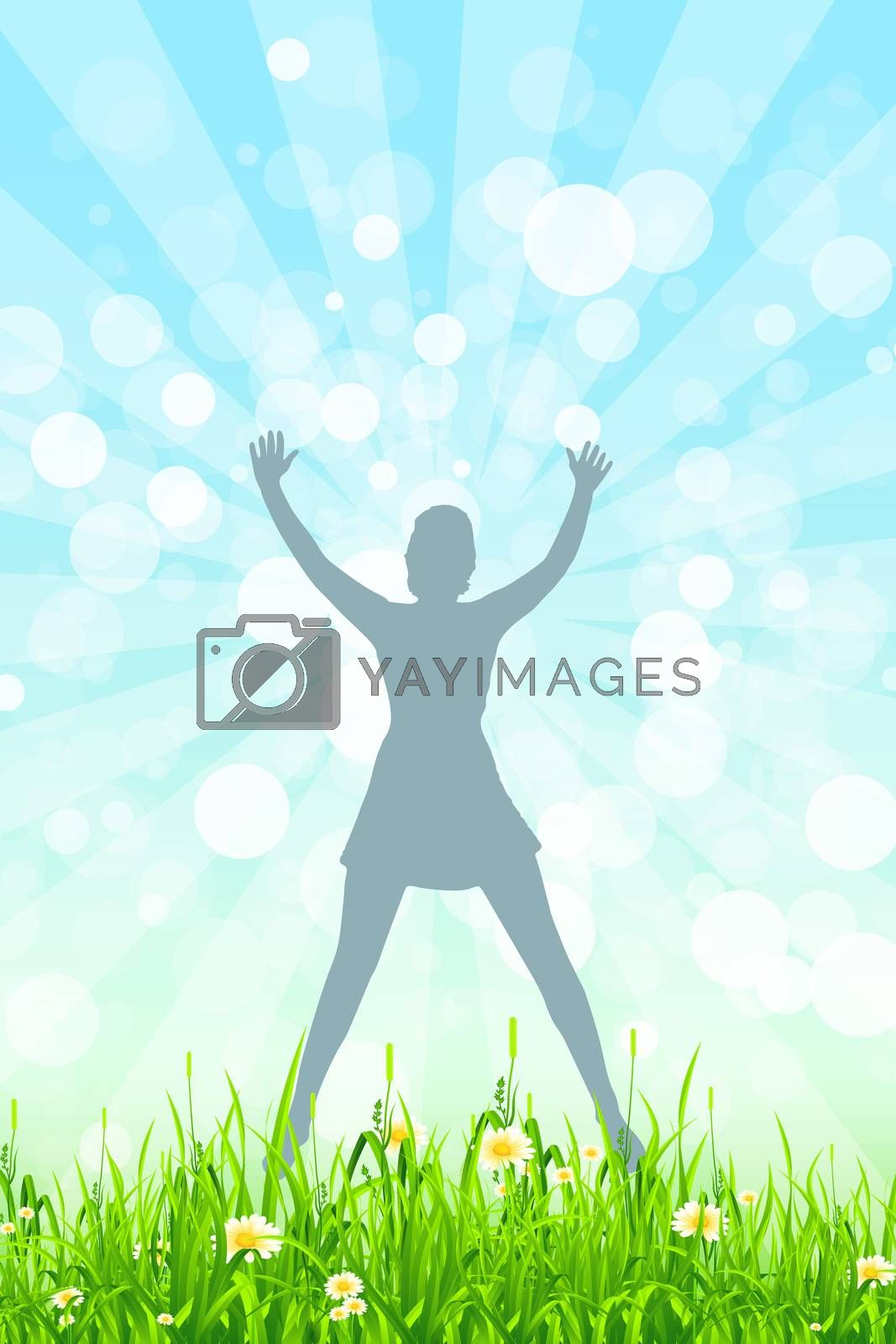 Nature Background with Girl Silhouette in Jump by WaD