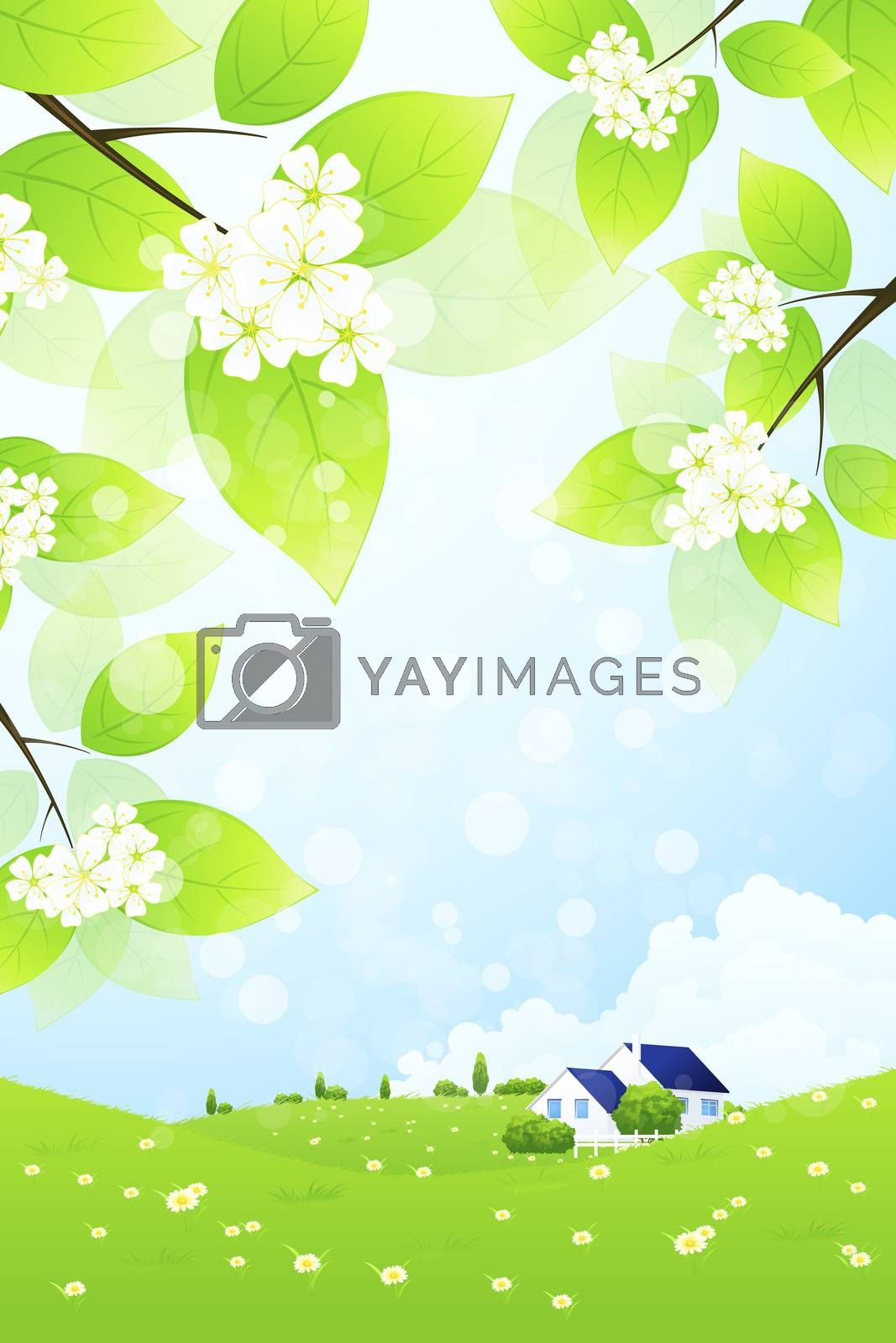 Green Landscape with House by WaD
