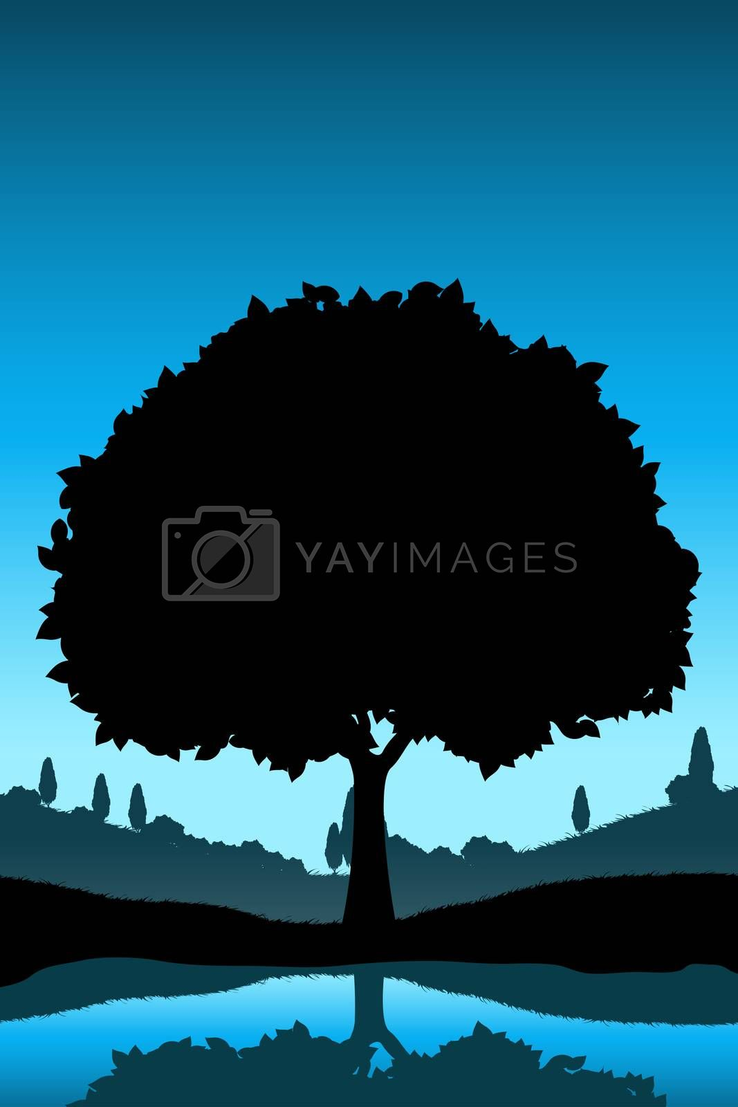Nature Landscape with Tree Silhouette by WaD