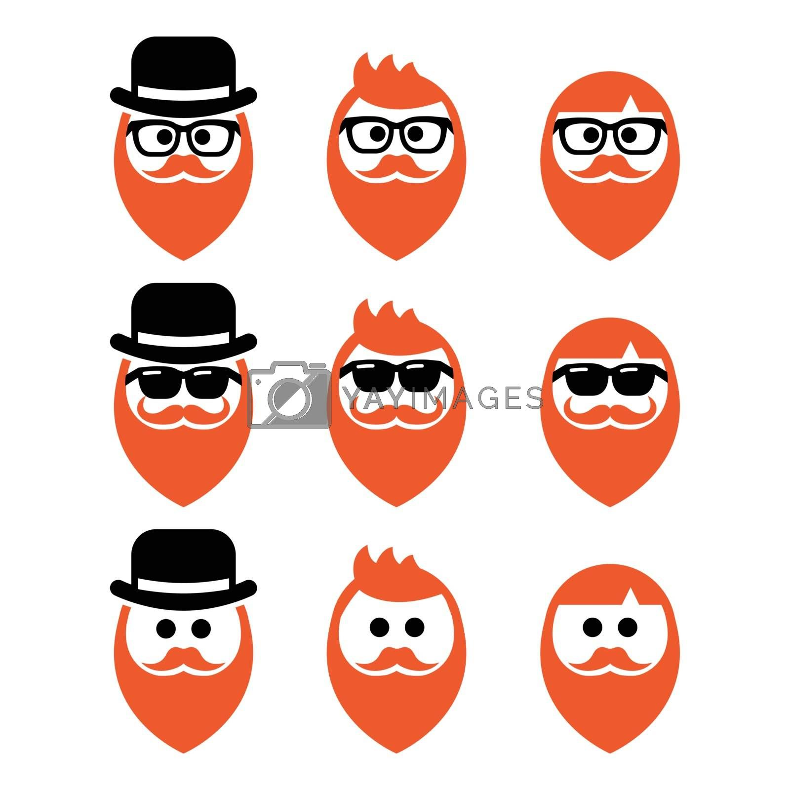 Man with ginger beard with moustache or mustache, hipster icons set by RedKoala