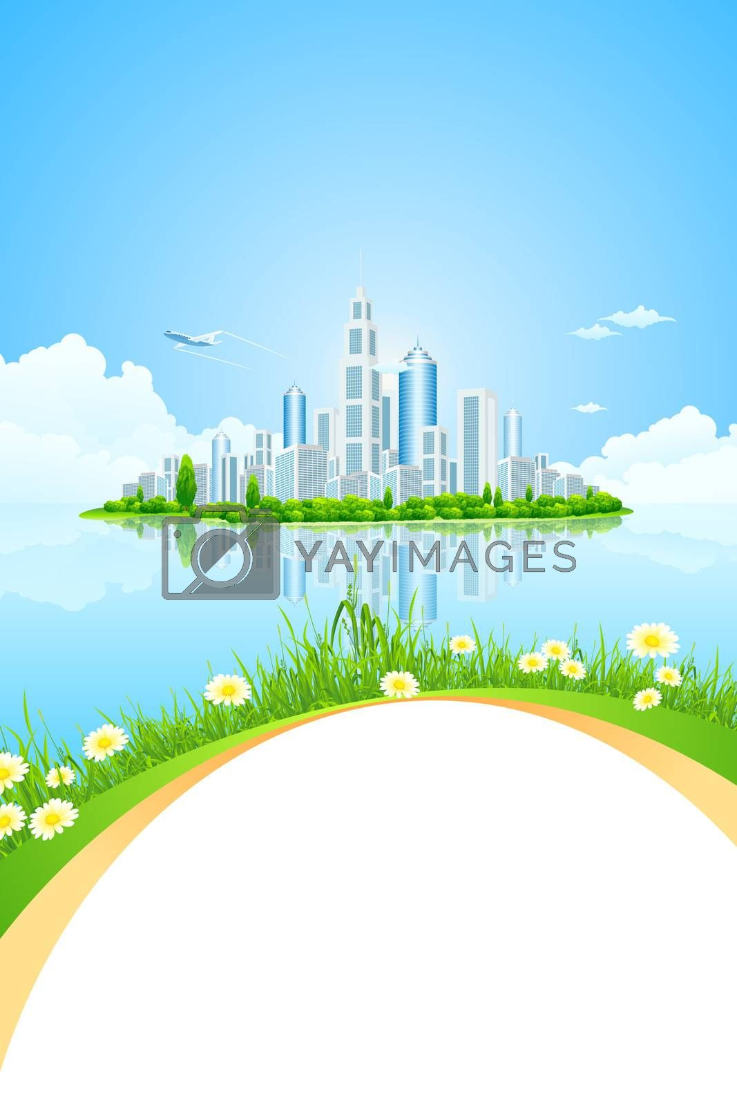 City Landscape Island with Green Trees by WaD