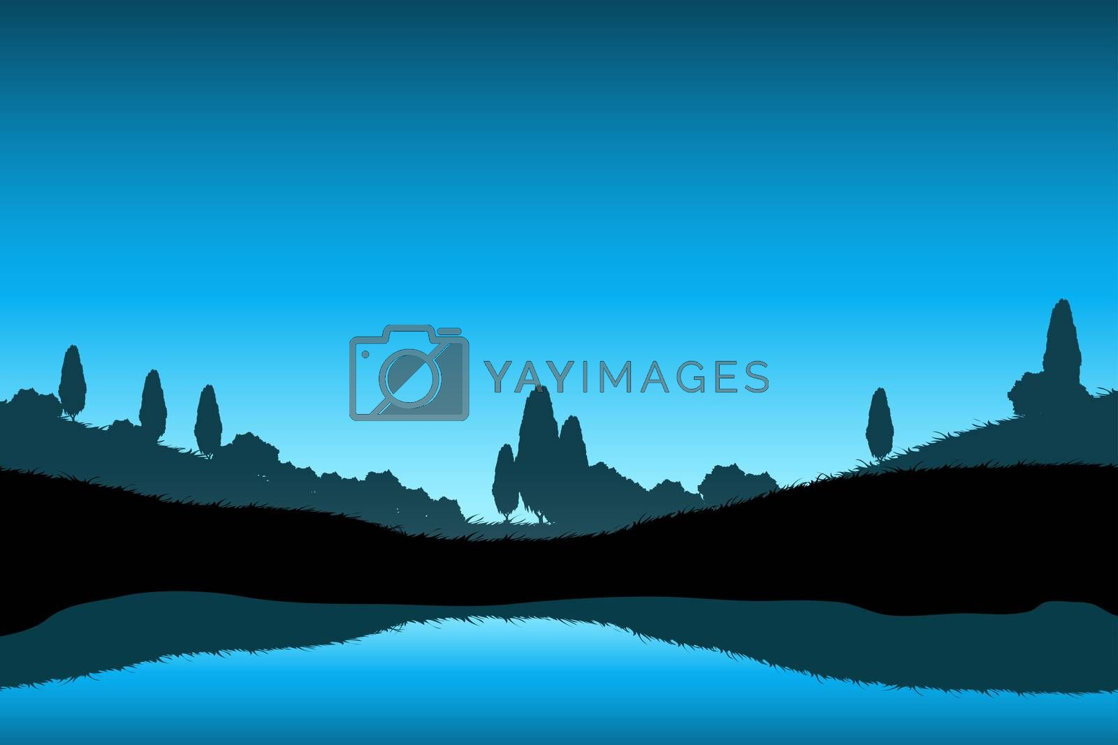 Nature Landscape with Trees Silhouette by WaD