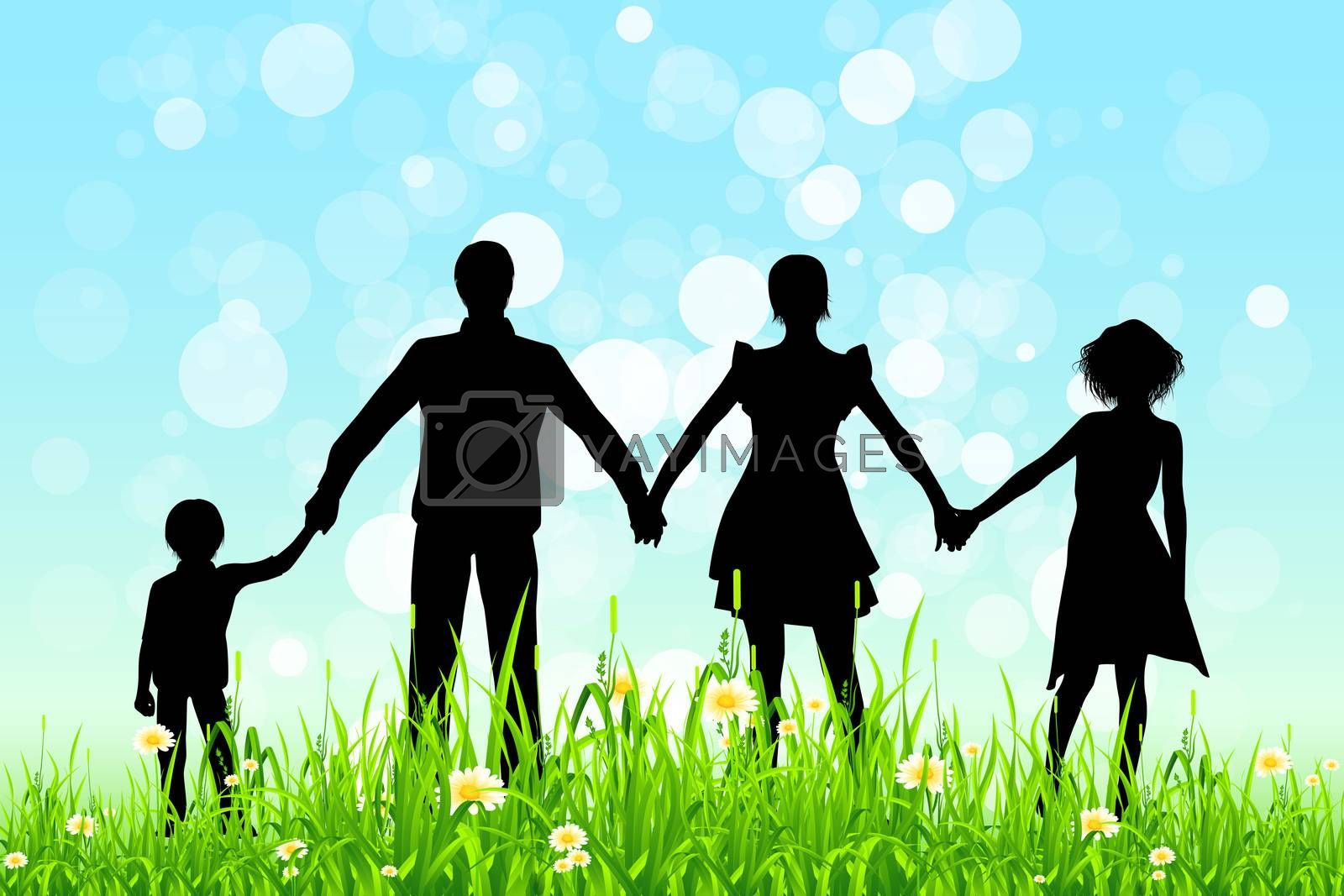 Green Grass and Blue Sky with Family Silhouettes by WaD