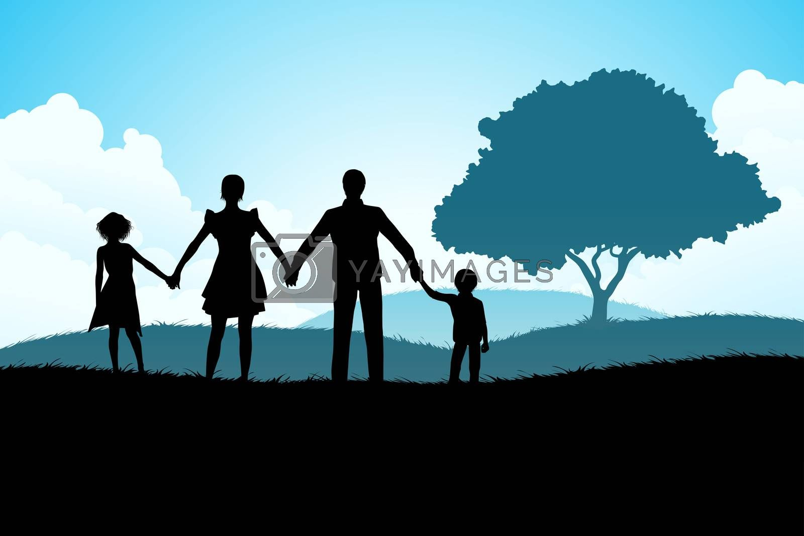 Nature Background with Family Silhouette by WaD