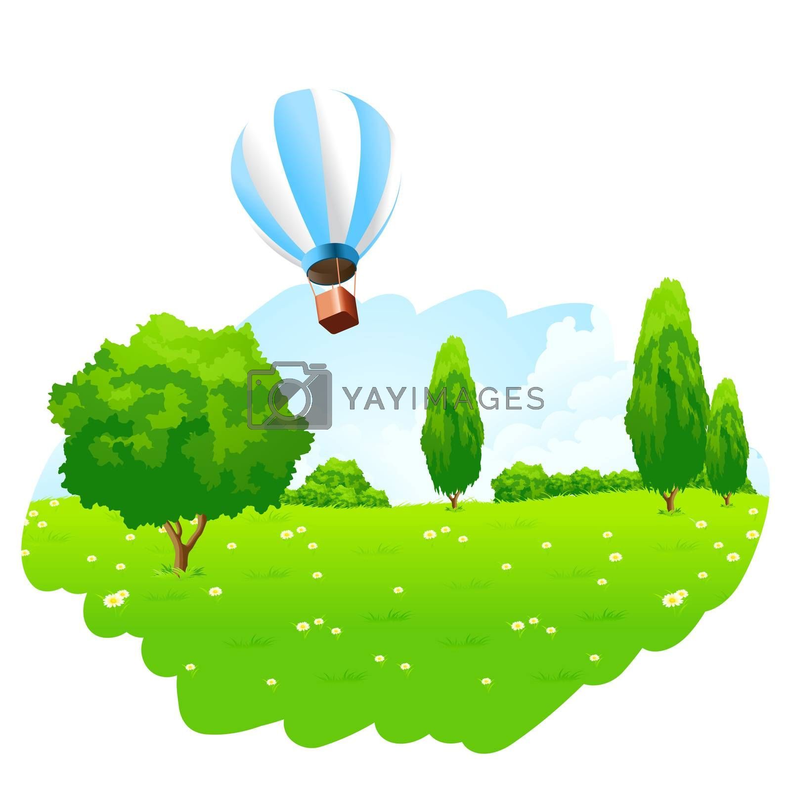 Green Landscape with Hot Air Balloon in the Sky by WaD