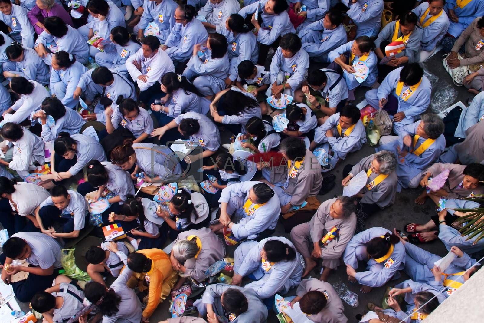 Impression, overcrowded of buddhist at Pagoda on anniversary  by xuanhuongho