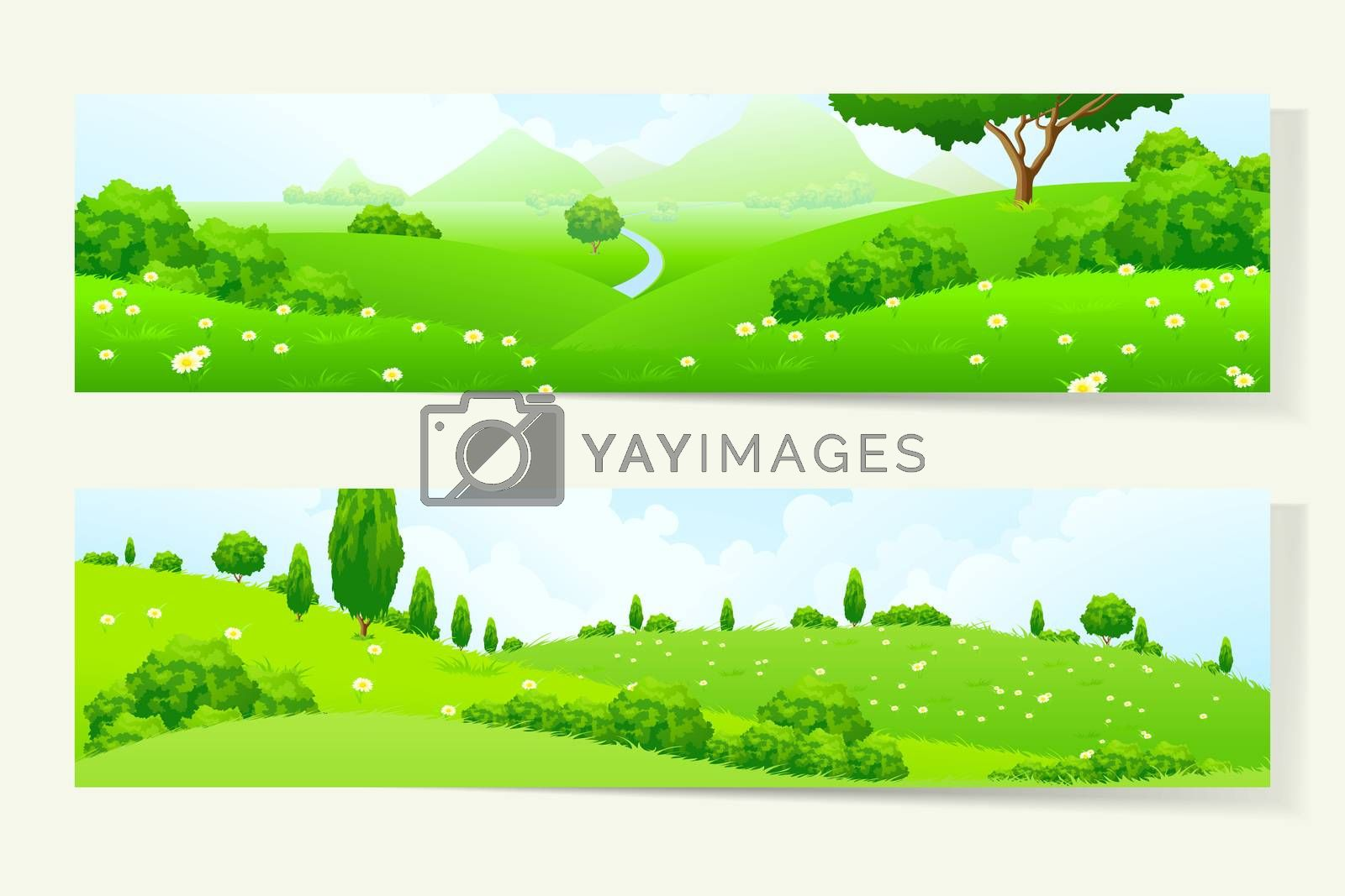 Two Horizontal Banners with Nature Landscape by WaD