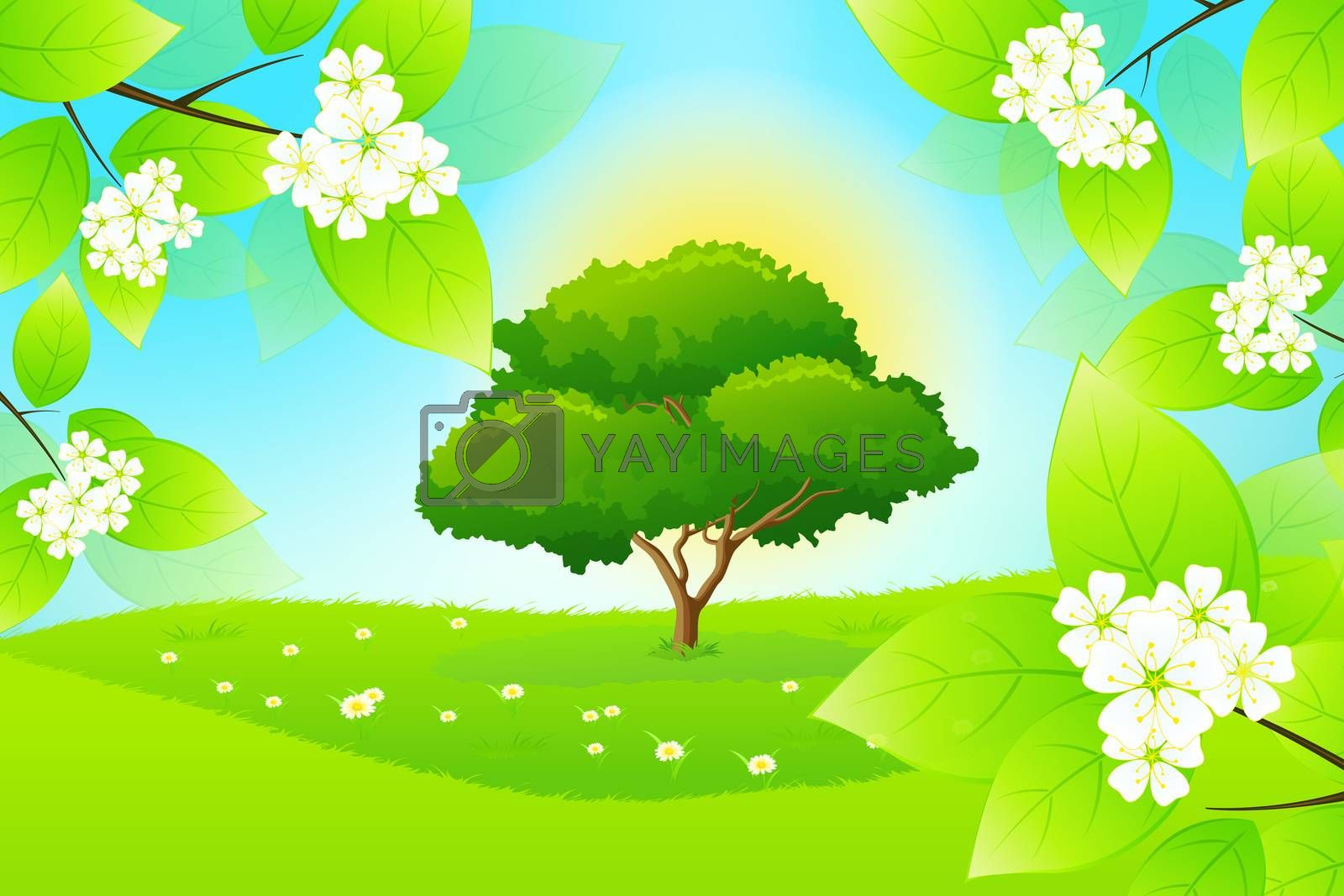 Green Landscape with Flowers by WaD