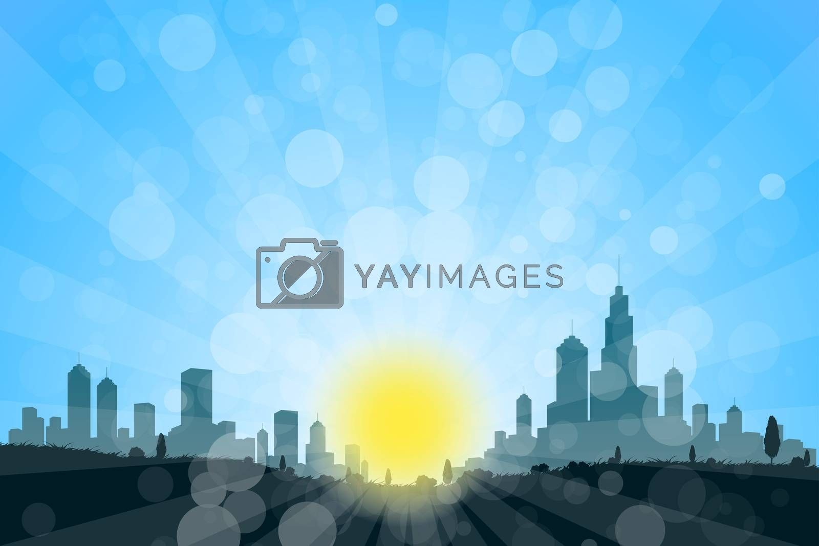 Nature Landscape with City Silhouette by WaD