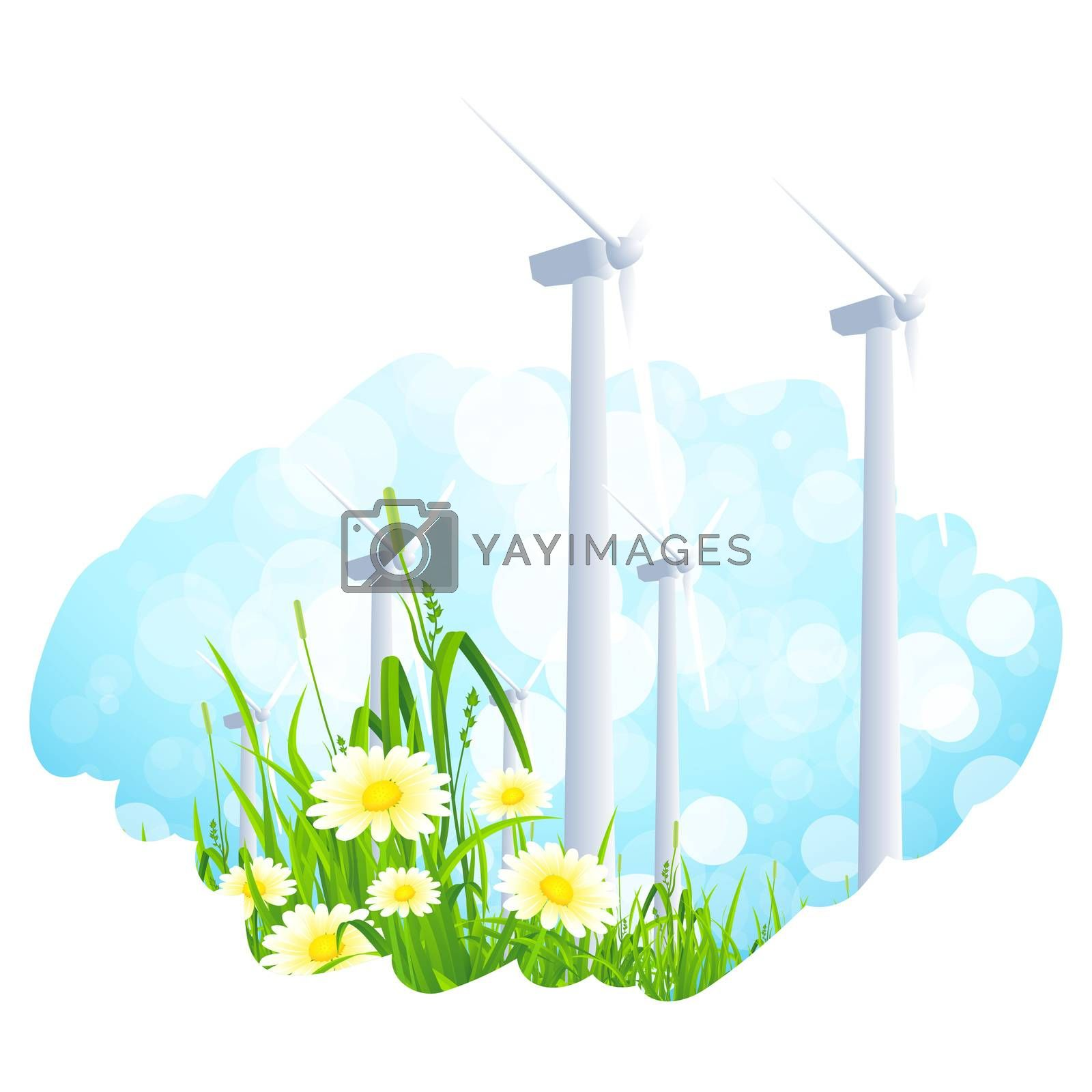 Abstract Background with Wind Power Plant and Flowers by WaD