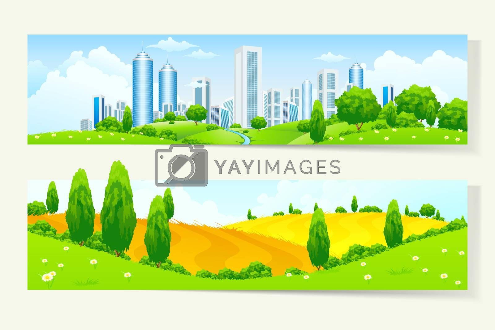 Two Horizontal Banners with Nature and City by WaD