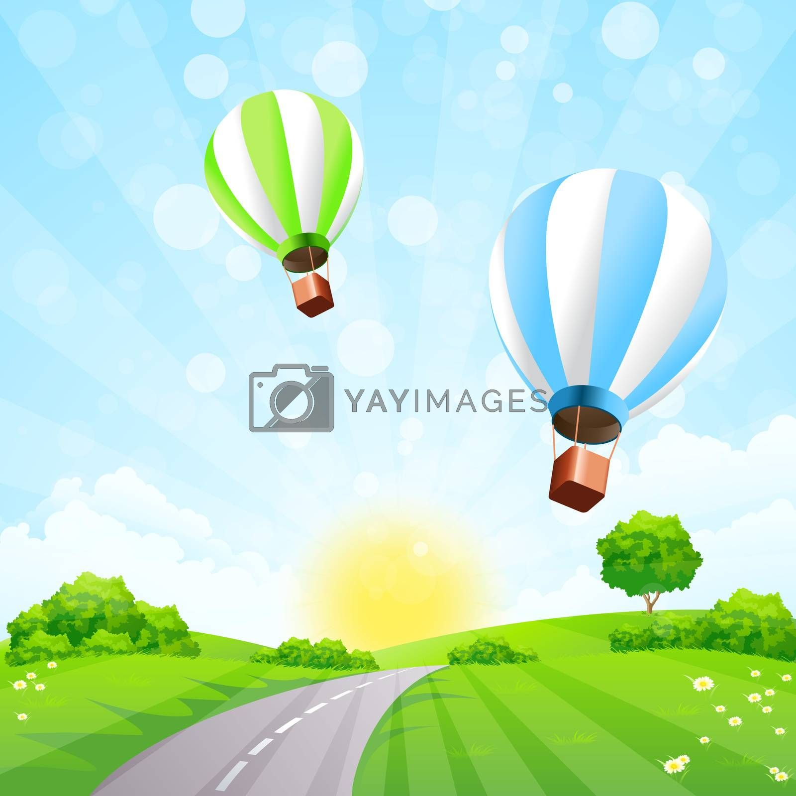 Green Landscape with Balloons by WaD