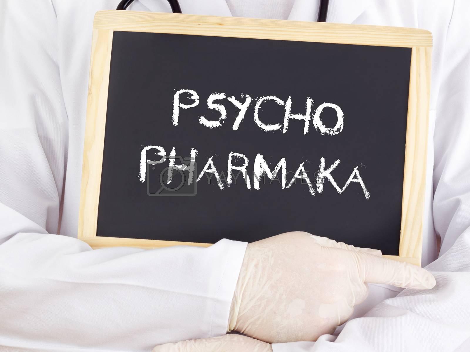 Doctor shows information: psychiatric medication in german